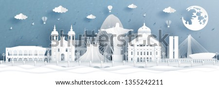 Panorama postcard and travel poster of Brazil world famous landmarks in paper cut style vector illustration #1355242211
