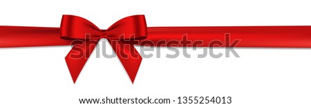 Realistic Red bow and horizontal ribbon shiny satin with shadow for decorate your wedding invitation card or greeting card vector EPS10 isolated on white background.