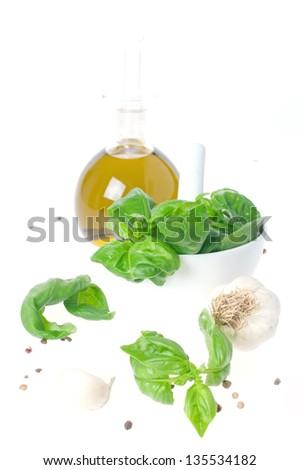 Fresh basil and oil for italian pesto, selective focus #135534182