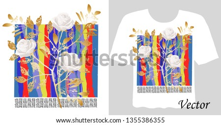 Stylish print on a t-shirt. Abstract, floral arrangement with roses and graphic elements.  Fashionable clothes. #1355386355