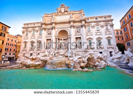 Majestic Trevi fountain in Rome street view, eternal city, capital of Italy #1355445839