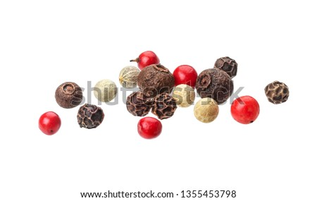 Pepper mix. Heap of black, red, white and allspice peppercorns isolated on white background, close up #1355453798