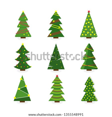 Set of colorful cartoon Christmas tree. Modern different flat design. Vector illustration. #1355548991