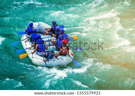 Rapids ahead in whitewater rafting in River  Ganges in Rishikesh, India #1355579921