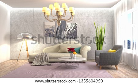 Interior of the living room. 3D illustration #1355604950