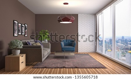 Interior of the living room. 3D illustration #1355605718