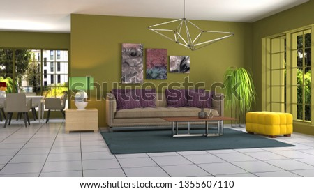Interior of the living room. 3D illustration #1355607110