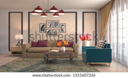 Interior of the living room. 3D illustration #1355607266