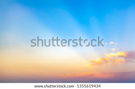 beautiful blue sunset sky with white clouds background, Nature background, yellow and orange tone  #1355619434