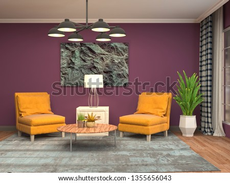 interior with chair. 3d illustration #1355656043
