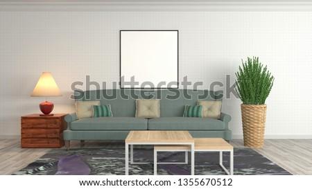 mock up poster frame in interior background. 3D Illustration #1355670512