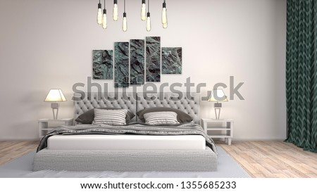 Bedroom interior. 3d illustration #1355685233