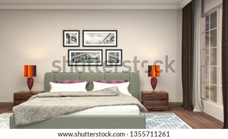 Bedroom interior. 3d illustration #1355711261