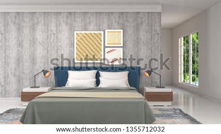 Bedroom interior. 3d illustration #1355712032