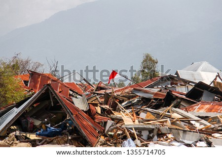 Indonesian flag at the liquefaction area #1355714705