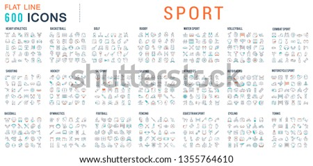 Collection of vector line icons of sport. Icons of active lifestyle, hobbies, sports equipment and clothing. Set of flat signs and symbols for web and apps. Royalty-Free Stock Photo #1355764610