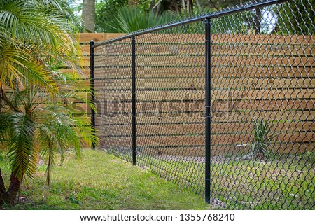 Black Chain Link Fence #1355768240