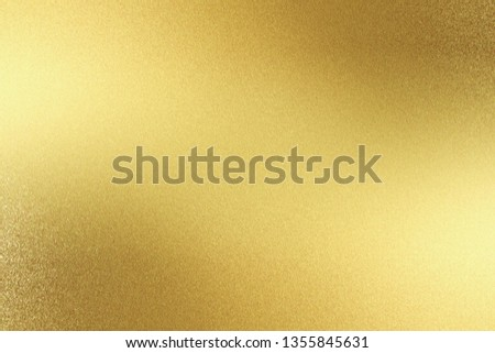 Abstract texture background, reflection polished gold steel panel #1355845631