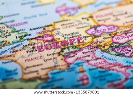 Close-up of European Names on Maps #1355879801