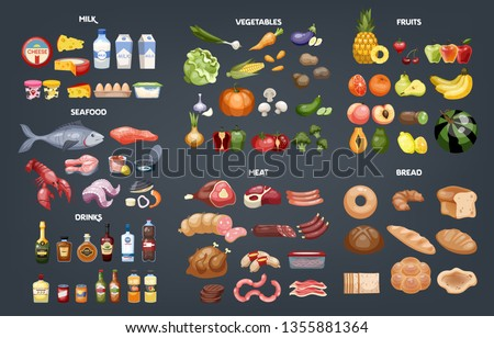 Food set. Collection of various meal, fish and meat, vegetables and bread. Healthy fresh nutrition. Ingredients for cooking. Vector illustration in cartoon style Royalty-Free Stock Photo #1355881364