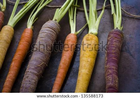 Organic rainbow carrots from the local farm. #135588173