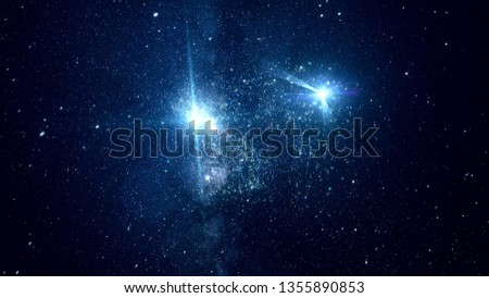 Abstract cosmic space with bright stars. Animation. Moving among bright sparkling stars in outer space of clear night #1355890853