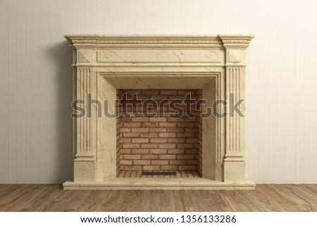 Respectable fireplace at home interior