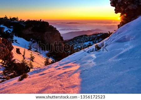 Aerial Landscape view from Ceahlău Mountains National Park at sunset in winter season,Sunset in Ceahlau Mountains #1356172523