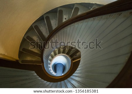 San Diego, California, USA – July 31, 2017: Horizontal aerial view of the spiral staircase of the Old Point Loma Lighthouse, Cabrillo National Park #1356185381