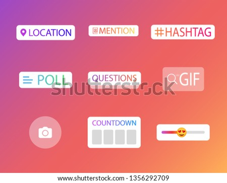 Social media icons stories. Questions, polls, locations, hashtags, countdown time in social networks. Icons of the history of social networks. #1356292709