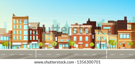 Modern city, town street flat vector with low-rise houses, commercial, public buildings in various architecture styles, sidewalk with city lights and road illustration. Metropolis outskirt background Royalty-Free Stock Photo #1356300701