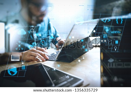Coding software developer work with AR new design dashboard computer icons of scrum agile development and code fork and versioning with responsive cybersecurity.Co working process, team working. #1356335729