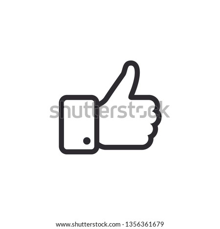 Like icon. Hand like. Thumb up. Outline love symbol. Social media sign. Seal of approval. OK sign. Like symbol. Premium quality. Achievement badge. Quality mark.  #1356361679