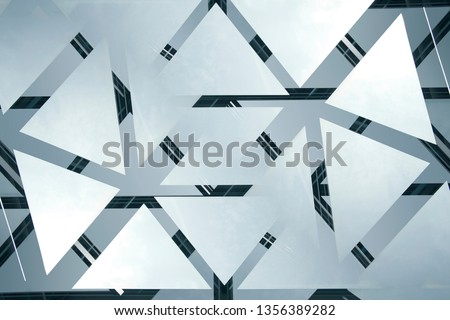 Structural glazing with reflections. Modern architecture fragment of glass ceiling, roof or wall with frames of transparent panels. Abstract geometric background with polygonal pattern.