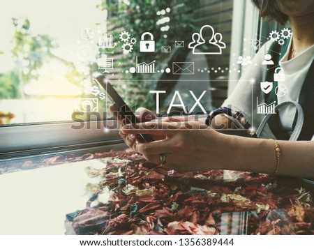businesswoman thinks about tax on smartphone-business concept-free icon from pixabay.com #1356389444