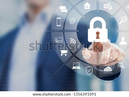 Cybersecurity on internet with person touching interface with icons of wireless network connection access on mobile, online payment, smartphone app, smart home, IoT, protect data against cyber crime #1356391091