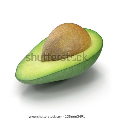 Avocado Half With Seed Isolated on White Background 3D Illustration #1356663491