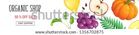 Organic shop poster with fresh fruits and vegetables isolated on white background. Horizontal composition from food. #1356702875