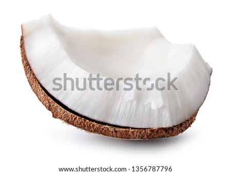 Coconut piece isolated. Cocos white. Coconut isolate. #1356787796