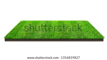 Green grass field isolated on white with clipping path. Sports field. Summer team games. Exercise and recreation place. #1356819827
