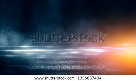 Wet asphalt, reflection of neon lights, a searchlight, smoke. Abstract light in a dark empty street with smoke, smog. Dark background scene of empty street, night view #1356837434
