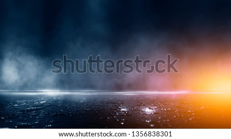Wet asphalt, reflection of neon lights, a searchlight, smoke. Abstract light in a dark empty street with smoke, smog. Dark background scene of empty street, night view, #1356838301