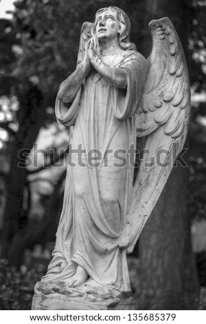 Selected cemetery statues from a uk grave yard #135685379