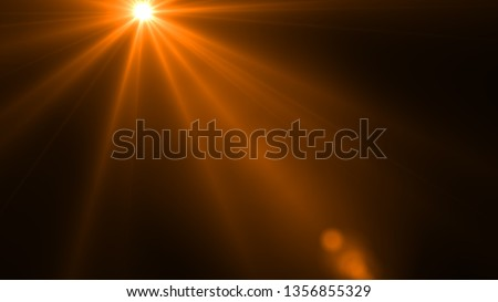 Sun rays light isolated on the black background for overlay design ( screen blending mode layer)