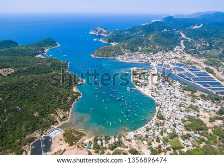 Vinh Hy bay in Ninh Thuan, Vietnam from above Royalty-Free Stock Photo #1356896474
