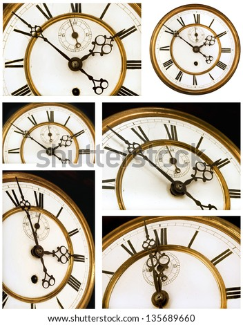 Old Clock Face Six Views - with Roman Numerals #135689660
