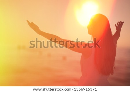 Human hands open palm up worship. Eucharist Therapy Bless God Helping Repent Catholic Easter Lent Mind Pray. Christian Religion concept background. fighting and victory for god          - Image #1356915371
