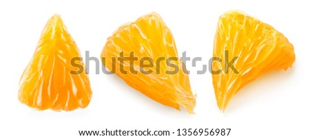 Orange slice. Orange fruit top view. Orang set isolate. #1356956987