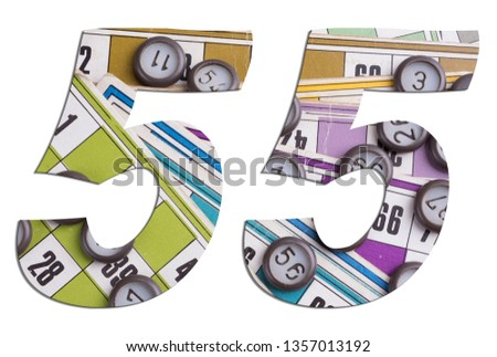 Number 55 with Lotto cards and game chips on white background #1357013192