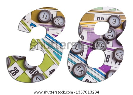 Number 38 with Lotto cards and game chips on white background #1357013234